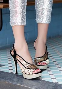 Black Piscine Mouth Stiletto Sequin Rivet Fashion High-Heeled Sandals