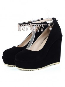 Chaussures bout rond coins strass boucle mode noir
