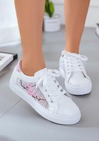 Rosa runde Zehe flache Stickerei Beiläufig Knöchel Schuhe