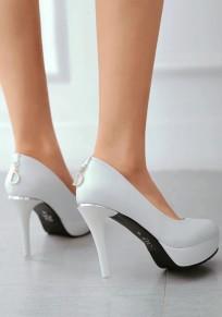 Zapatos punta redonda aguja tacón de aguja blanco
