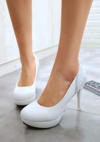 Chaussures bout rond coiffert paillettes mode à talons hauts blanc