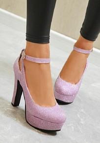 Chaussures bout rond trapu paillette boucle mode à talons hauts violet