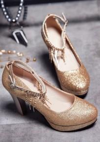 Zapatos punta redonda cadena de diamantes de imitación fornida moda de tacón alto dorado
