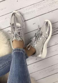 Baskets glitter paillette bout rond avec à lacets mode décontracté femme sneakers argent