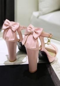 Sandales bout rond trapu noeud papillon mode à talons hauts rose