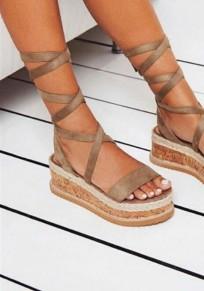 Camel Runde Zehe Keilabsatz Schnürung Lace-up Römer Mode Sommer Sandalen Damen Schuhe