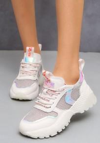Weiße runde Zehe flache Flickwerk beiläufige schwere Schuhe