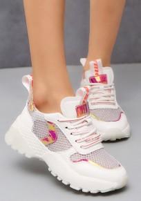 Weiße und Rote runde zehe flache Flickwerk beiläufige schwer-gesohlte Schuhe