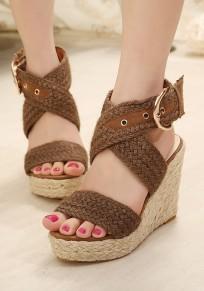 Sandales bout rond pointes boucle mode haut talon marron