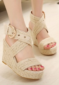 Apricot Round Toe Wedges Buckle Fashion High-Heeled Sandals