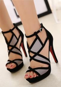 Schwarze runde zehe Stilett Flickwerk ausgeschnittene Art- und Weisehohe Sandaletten