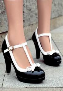 Schwarze runde Zehe klobig Bogen Schnalle Süße Schuhe mit hohen Absätzen