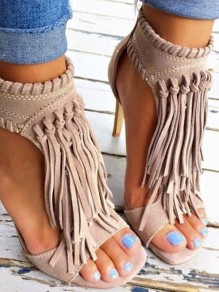 Beige Piscine Mouth Stiletto Tassel Fashion High-Heeled Sandals