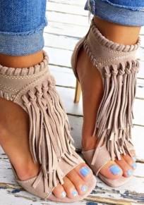 Beige Piscine Mund Stilett Quaste Mode Sandalen mit hohen Absätzen