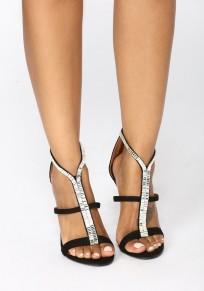 Schwarze runde zehe Stilett Art- und Weisehohe Sandaletten