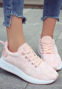Rosa runde Zehe flache Flickwerk Beiläufig Knöchel Schuhe