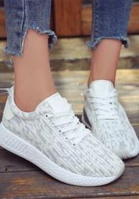 Weiße und graue Runde Zehe flache Flickwerk Beiläufig Knöchel Schuhe