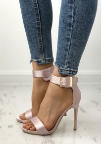 Pink Round Toe Stiletto Buckle Fashion High-Heeled Sandals