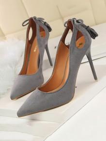 Graue Spitze Zehe Stilett Bogen Quaste ausgeschnitten Mode Schuhe mit hohen Absätzen