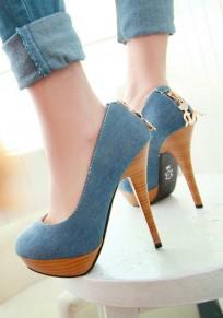 Zapatos punta redonda con cierre de tacón de aguja tacón alto azul oscuro
