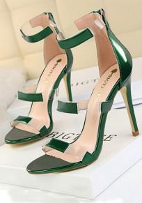 Sandales bout rond coiffert mode à talons hauts vert