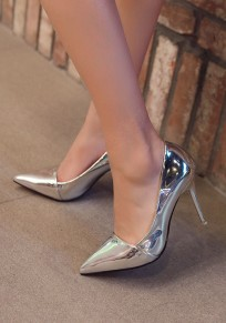 Silver Point Toe Stiletto Fashion High-Heeled Shoes