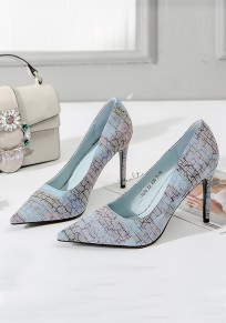 Blue Point Toe Stiletto Patchwork Fashion High-Heeled Shoes