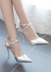 Sandali con tacco A spillo stiletto A punto fibbia moda in argento con tacco alto