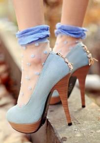 Chaussures bout rond coiffert fermeture éclair mode à talons hauts bleu clair