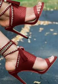 Rote Runde Zehe Stiletto Kette Knöchel Mit Absatz Sandalen Pumps Damen Mode Schuhe