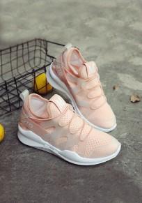 Chaussures bout rond imprimé plat mode à semelle lourde rose