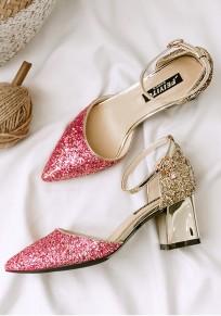 Sandalias punto punta de aguja lentejuelas hebilla moda rosa