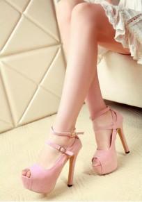 Sandalias piscine boca hebilla de aguja moda tacón alto rosa