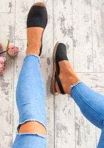 Espadrilles peep toe plat mode décontracté femme chaussures noir