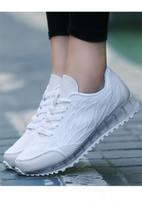 White Round Toe Flat Cross Strap Casual Shoes