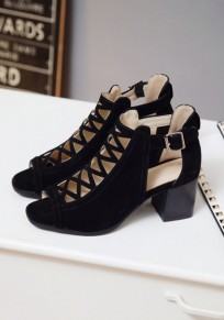 Chaussures piscine bouche trapu boucle mode noir