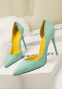 Zapatos punta de tacón de aguja moda de tacón alto verde