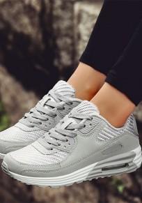 Chaussures bout rond courroie plate croisée décontracté gris