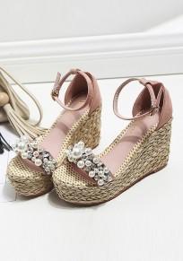 Sandales bout rond coins perle boucle mode à talons hauts rose