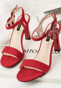 Red Round Toe Stiletto Rhinestone Fashion High-Heeled Sandals