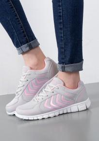 Chaussures et rose bout rond plat décontracté gris