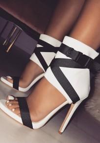 Sandalias punta redonda tacón de aguja moda tacón alto blanco