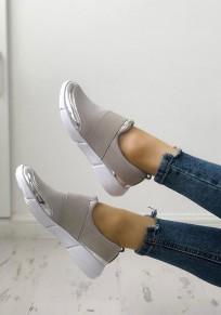Chaussures bout rond plat décontracté gris