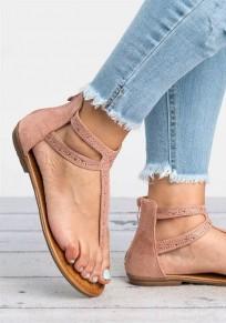 Rosa Runde Zehe Flache Reißverschluss Zehentrenner Pailletten Glitzer Mode Sandalen Strandschuhe Damen Schuhe