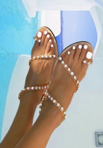 Brown Round Toe Flat Rhinestone Glitter Boho Beach Sandals
