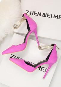 Zapatos rosa carmín punta del dedo del pie estilete de moda de tacón alto