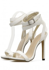 White Round Toe Stiletto Cross Strap Rhinestone Fashion High-Heeled Sandals