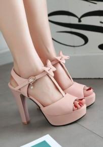 Sandales piscine bouche trapu noeud papillon doux talon haut rose