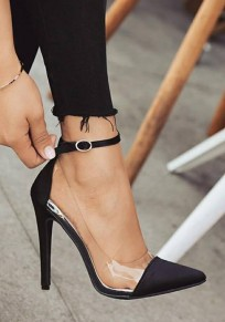 Black Point Toe Stiletto Patchwork Buckle Fashion High-Heeled Shoes