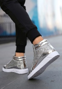 Silver Round Toe Sequin Lace-up Fashion Ankle Shoes
